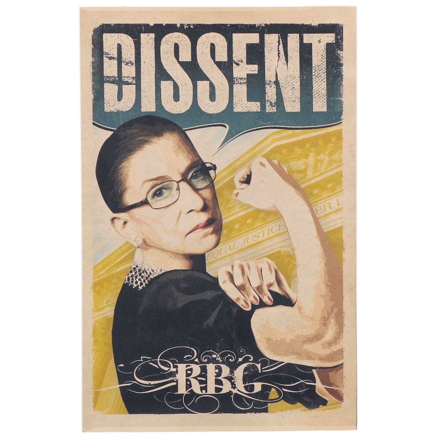 """Giclée of Ruth Bader Ginsburg as Rosie the Riveter """"Dissent,"""" 21st Century"""