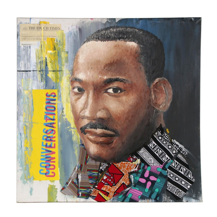 """Stephen Aifegha Mixed Media Painting """"Martin Luther King,"""" 2020"""