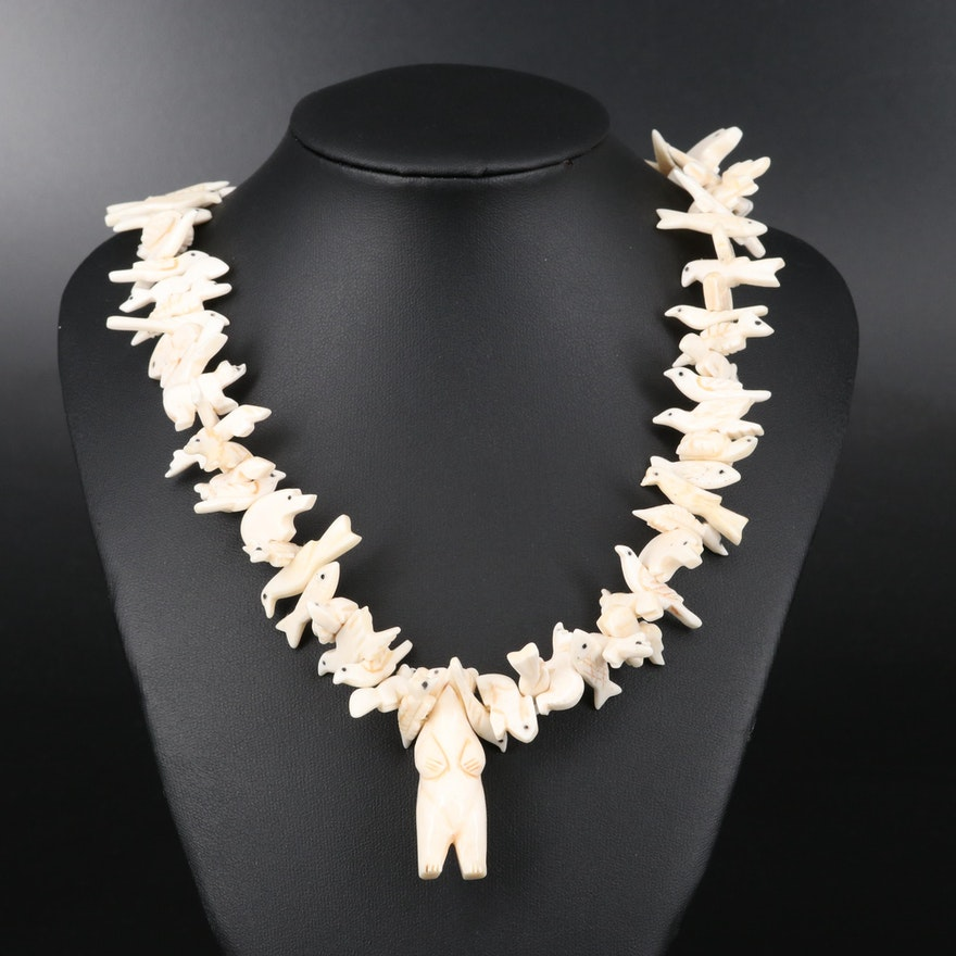 Bone and Mother of Pearl Beaded Fetish Necklace