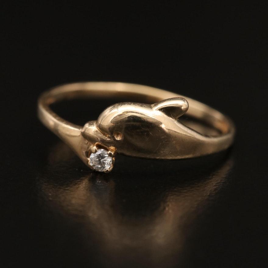 10K Cubic Zirconia Dolphin Ring