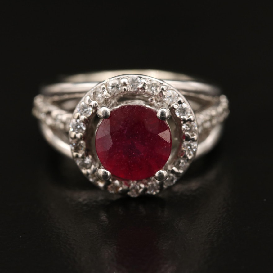 14K Corundum and Diamond Halo Ring