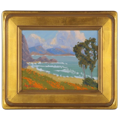 "Marc A. Graison California Impressionist Style Oil Painting ""Distant Coast"""