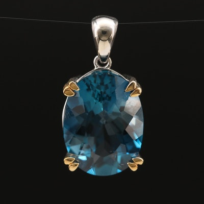 14K Filigree Encased Topaz Pendant