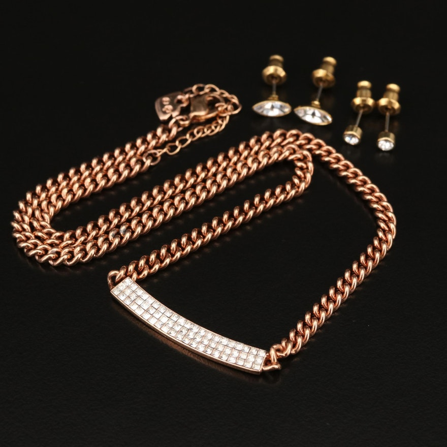 "Swarovski Crystal ""Vio"" Necklace and Suede Wrap Bracelet"