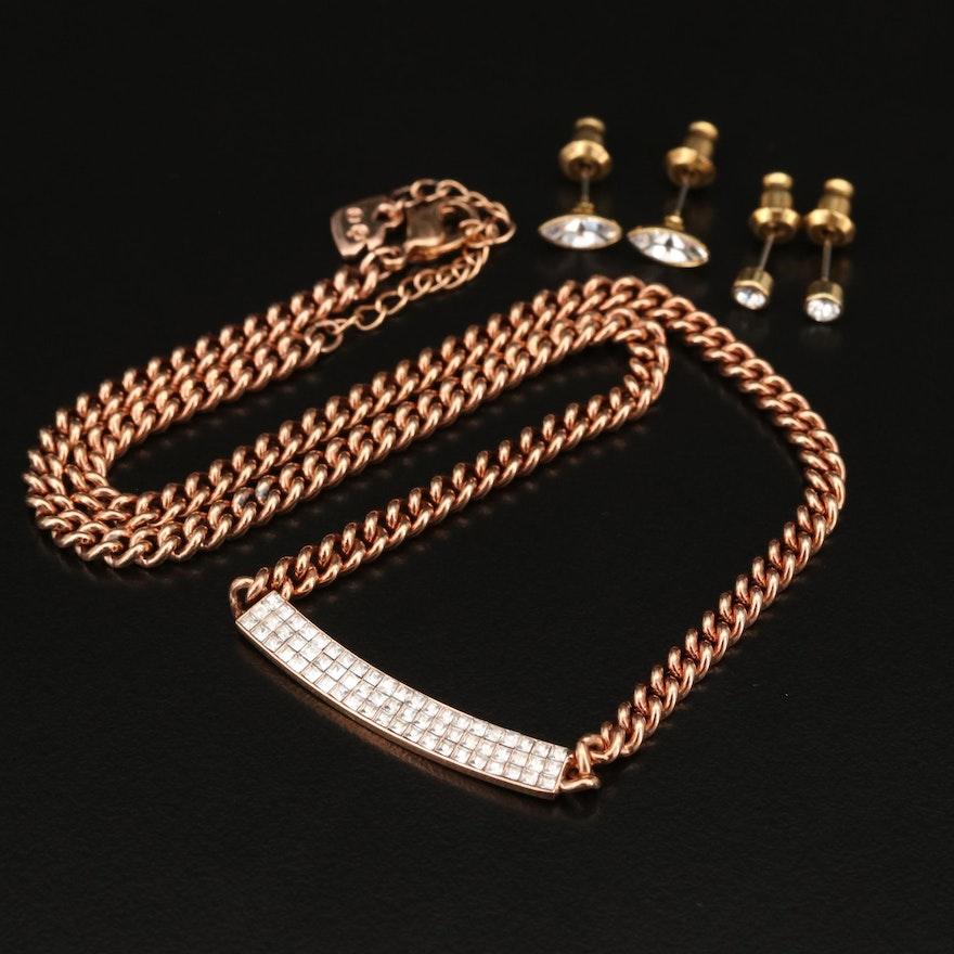 "Swarovski Crystal ""Vio"" Necklace and ""Harley"" Stud Earrings"