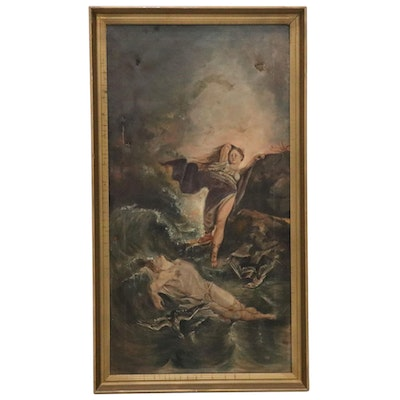 """Oil Painting after Felix Jenewein """"Hero and Leander,"""" Early 20th Century"""