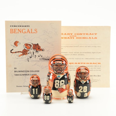 Cincinnati Bengals Signed 1984 Summer Camp Guide, Honorary Contract, and More