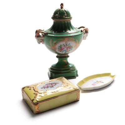 Dresden Gilt Porcelain Vase and Box with Limoges Porcelain Tray