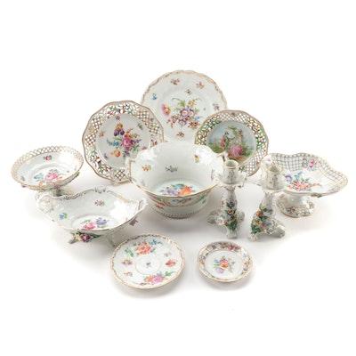 "Schumann ""Empress Dresden Flowers"" Plates and Other Dresden Tableware"