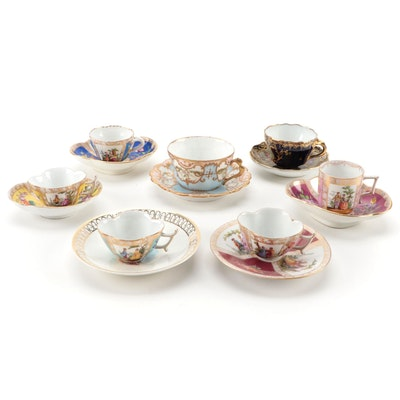 Dresden and Royal Vienna Quatrefoil and Other Demitasse and Teacups, Antique