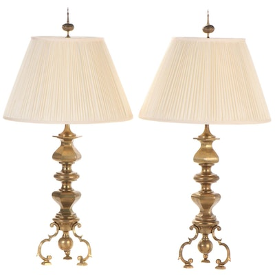 Pair of Chapman Brass Tripod Table Lamps, Mid/Late 20th Century