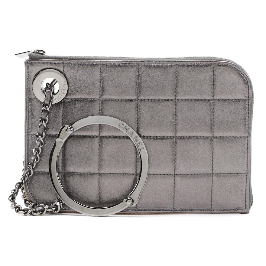 Chanel Chocolate Bar Handcuff Clutch in Quilted Metallic Leather