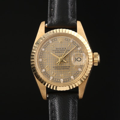 1983 Rolex Datejust 18K Gold and Diamond Dial Automatic Wristwatch