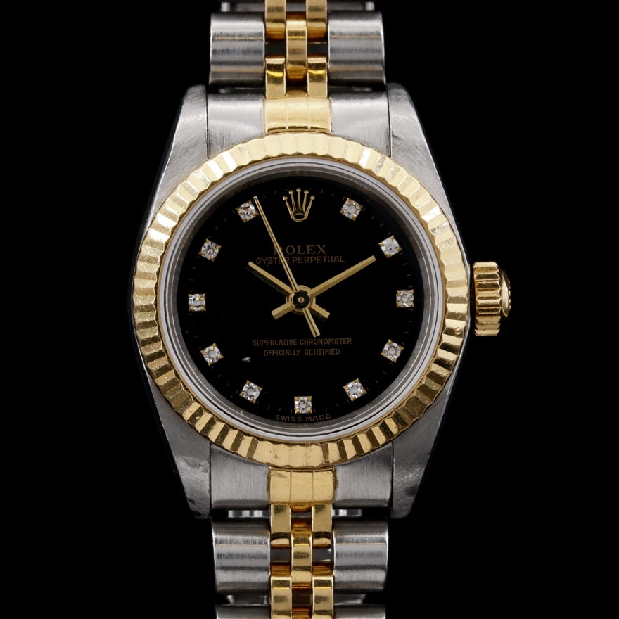 Rolex Oyster Perpetual 18K and Steel Wristwatch with Factory Diamond Dial