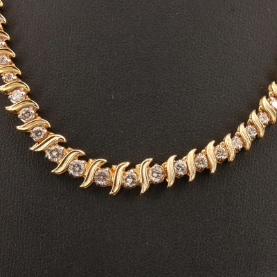 "14K 4.20 CTW Graduated Diamond ""S"" Link Necklace"