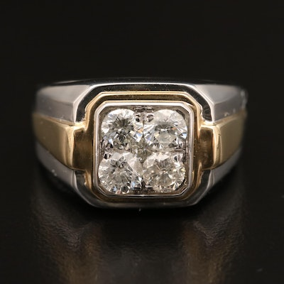 10K Two-Tone 1.55 CTW Diamond Ring