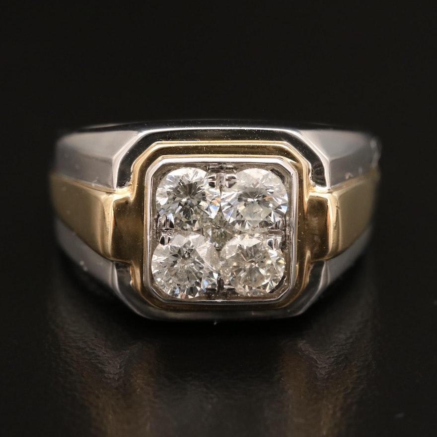 10K Two-Tone 1.55 CTW Diamond Ring
