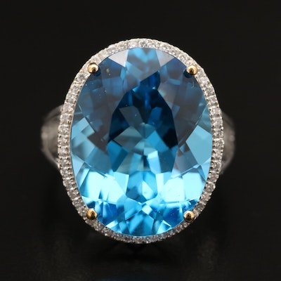 14K 20.82 CT Topaz and Diamond Ring
