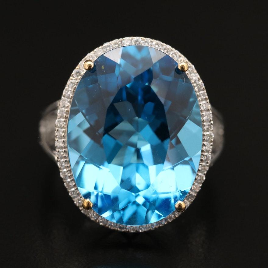 14K 20.82 CT Topaz and Diamond Ring