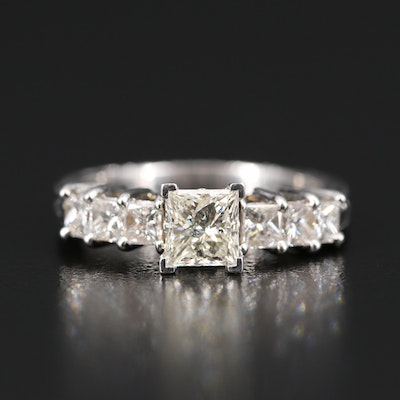 Platinum 2.01 CTW Diamond Ring with Yellow Gold Accents