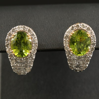 14K Peridot and 2.08 CTW Diamond Drop Earrings