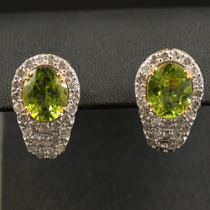 14K Peridot and 2.08 CTW Diamond Drop Earrings