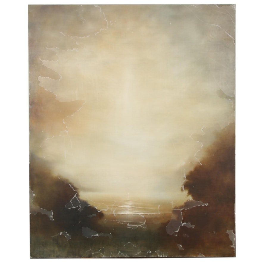 Hiro Yokose Large-Scale Abstract Wax and Oil Painting of Landscape, 2002