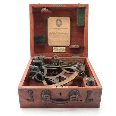 Benn Franks English Brass Nautical Sextant in Mahogany Case, ca. 1918