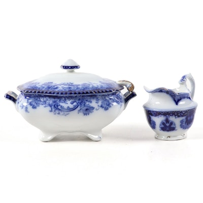 "Doulton Burslem ""Melrose"" Tureen and WH Grindley ""Baltic"" Flow Blue Creamer"