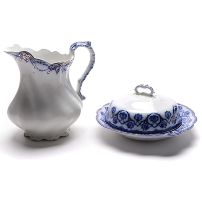 "Johnson Brothers ""Sterling"" Pitcher and Other ""Hilda"" Flow Blue Covered Dish"
