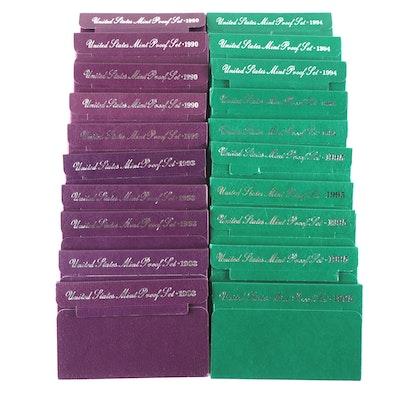 Twenty U.S. Mint Proof Sets, 1990 to 1995