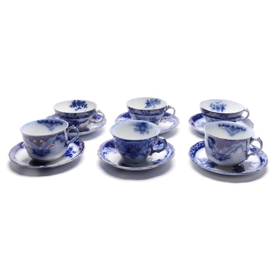 "Henry Alcock ""Torraine"" Other English Flow Blue Cups and Saucers, Antique"