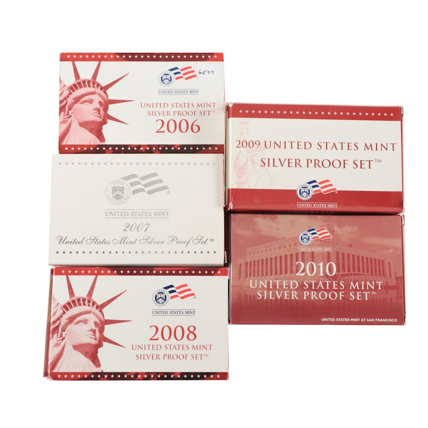 Five U.S. Mint Silver Proof Sets, 2006 to 2010