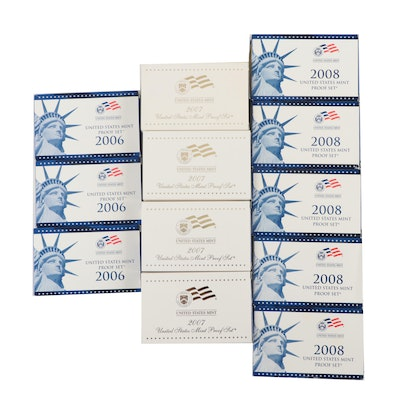 Twelve U.S. Mint Proof Sets, 2006–2008