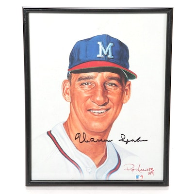 Warren Spahn of the Milwaukee Braves Autographed Image