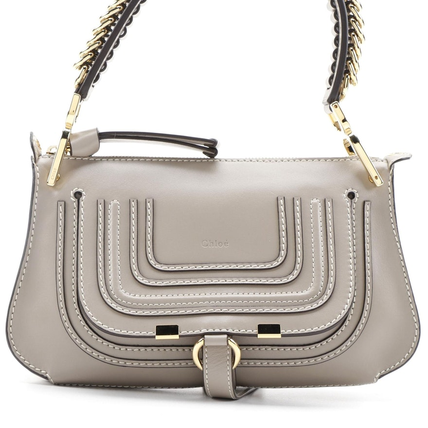 Chloé Marcie Saddle Two-Way Gray Leather Shoulder Bag