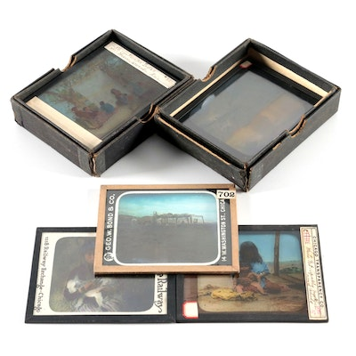 Bond & Co. Native American Hand-Colored Glass Slides, Late 19th/Early 20th C.
