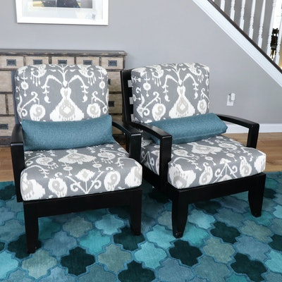 Pair of Fairfield Furniture Slat Back Ebonized Wood Armchairs with Cushions