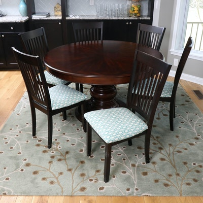 "Walnut-Stained Round Pedestal Dining Table with Six Coaster ""Sanders"" Chairs"
