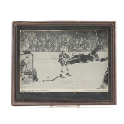 "Autographed ""Bobby Orr"" Two Sided Framed Photograph"