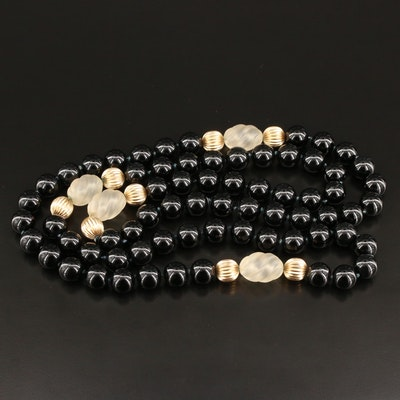 Black Onyx and Glass Beaded Necklace