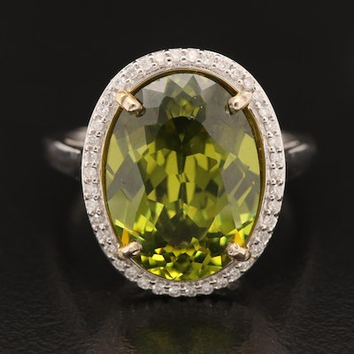14K Oval Glass and Diamond Ring