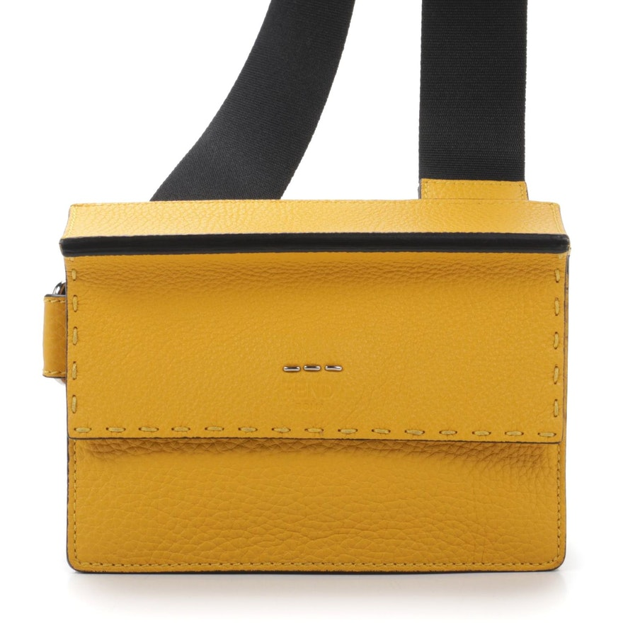 Fendi Selleria Yellow Pebbled Leather Flap Crossbody Pouch