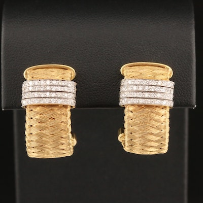 "Roberto Coin ""Silk Weave"" 18K Diamond J-Hoop Earrings"