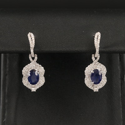 14K Sapphire and Diamond Dangle Earrings
