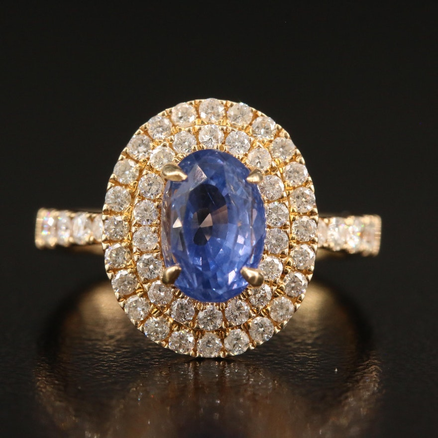 14K 2.20 CT Sapphire and Diamond Ring