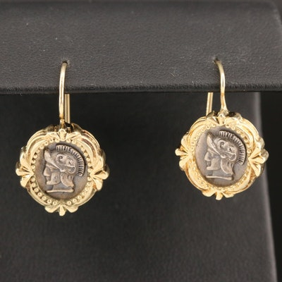 14K and Sterling Silver Roman Centurion Drop Earrings