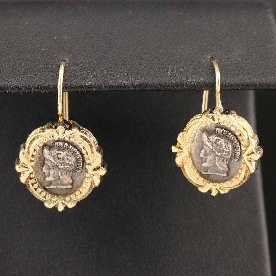 14K and Sterling Silver Roman Centurion Drop Earrings