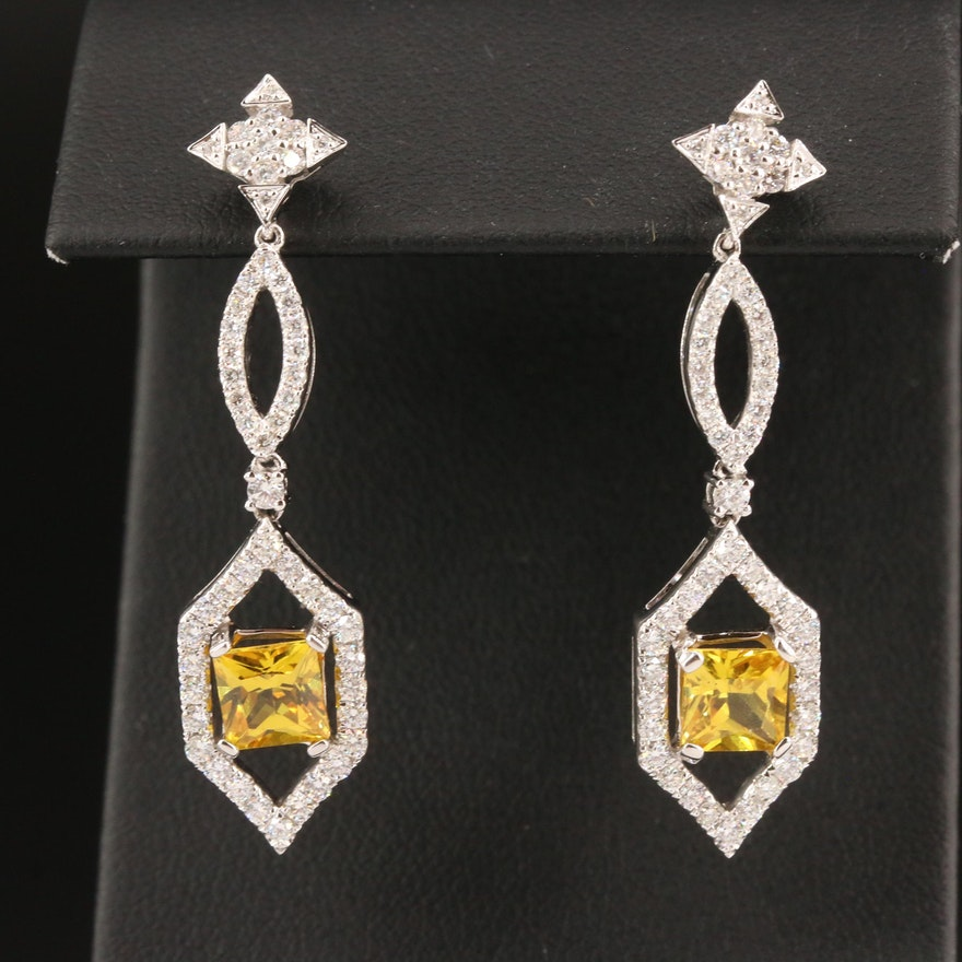 18K Sapphire and 1.35 CTW Diamond Dangle Earrings