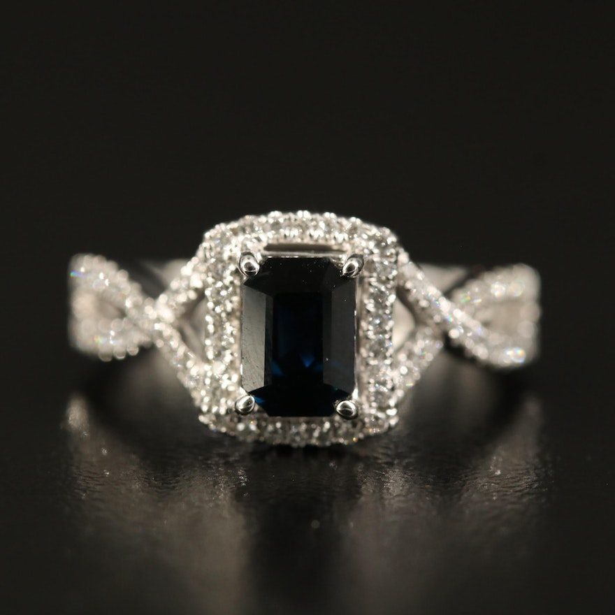 14K 1.43 CT Sapphire and Diamond Ring